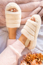 Cream Sling Back Plush Slippers