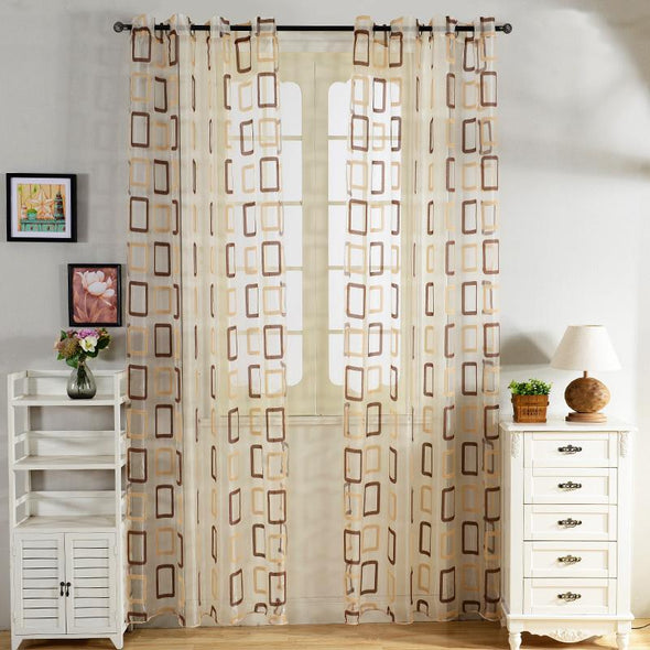 Homespun Rectangular Pattern Sheer Curtains -  Coffee Brown - Curtains Online - Discover-curtains