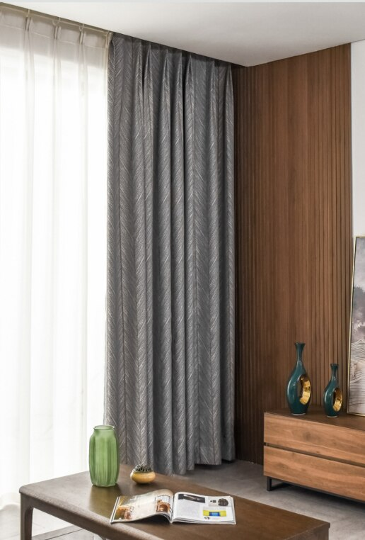 Taylor. H Luxury Gold Fishbone Pattern Jacquard Shade Curtain - Gray - Curtains Online - Discover-curtains