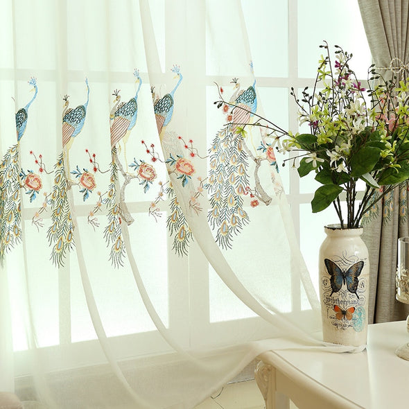 Astor Rideaux Peacock Embroidered Linen Semi-Blackout Curtain - Curtains Online - Discover-curtains