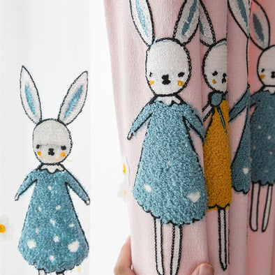 Rémy Embroidered Rabbit Linen Curtains - Curtains Online - Discover-curtains