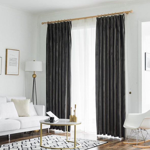 Rémy Luxury Velvet Blackout Curtain - Bottle Green/Turquoise /Dark Gray - Curtains Online - Discover-curtains