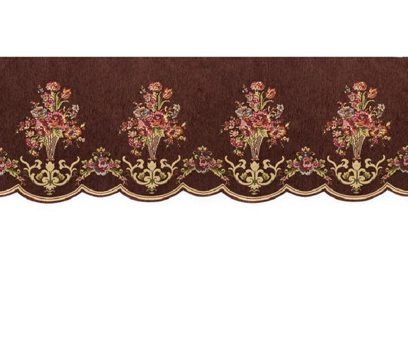 Mila European Chenille Jacquard Blackout Valance - Brown - Curtains Online - Discover-curtains