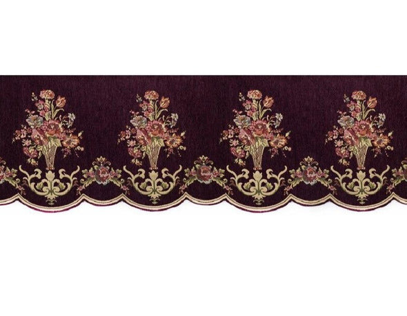 Mila European Chenille Jacquard Blackout Valance - Dark Purple - Curtains Online - Discover-curtains