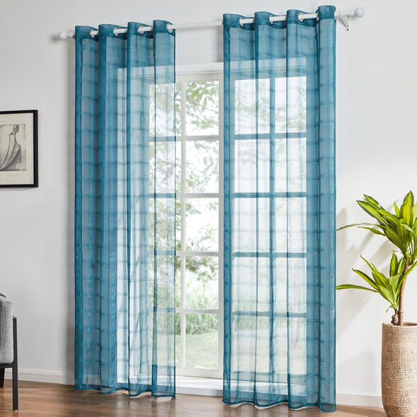 Homespun Sheer Curtain Shiny Isles - Cadel Blue - Curtains Online - Discover-curtains
