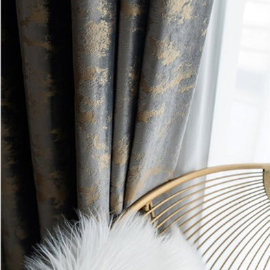 T.B. London Luxury Bronzing Texture Velvet Curtains- Golden Cloud - Curtains Online - Discover-curtains