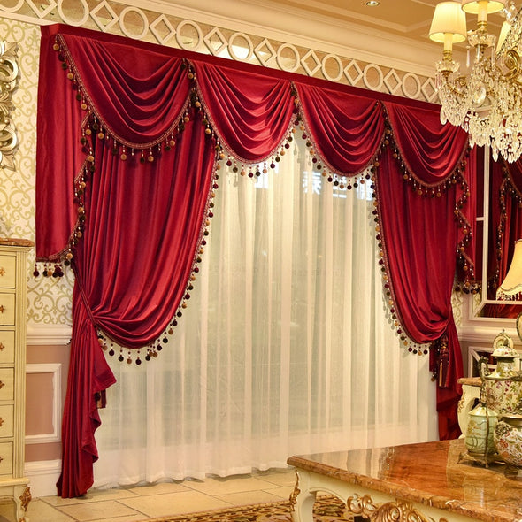 Mila Classic Velvet Valance - Red - Curtains Online - Discover-curtains