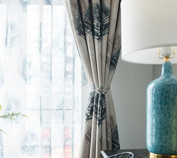 Jason Abstract Leaves Print Blackout Curtain - Curtains Online - Discover-curtains