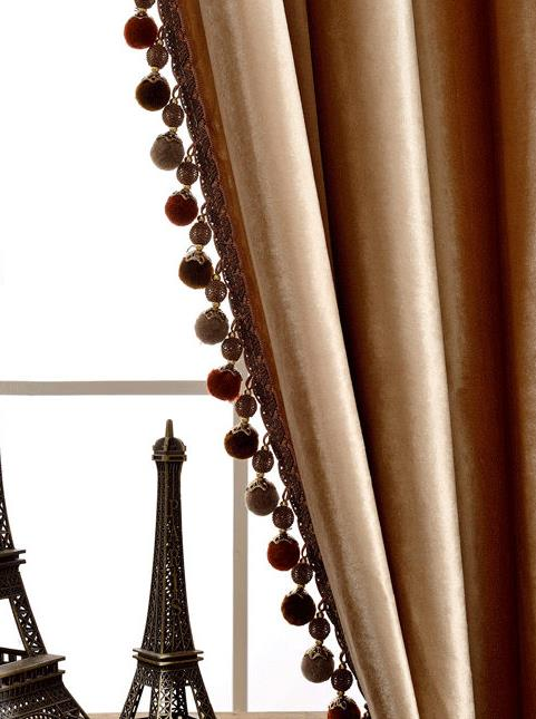 Rémy Luxury European Blackout Tassel Velvet Curtains - Camel - Curtains Online - Discover-curtains