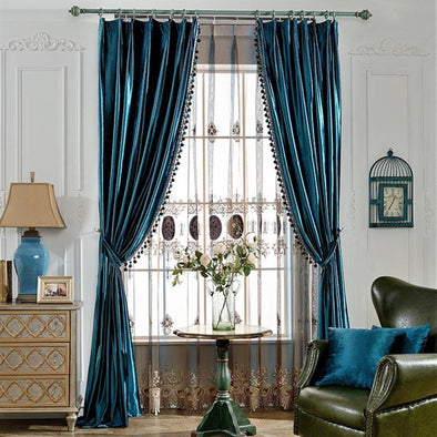 Rémy Luxury European Blackout Tassel Velvet Curtains - Blue - Curtains Online - Discover-curtains