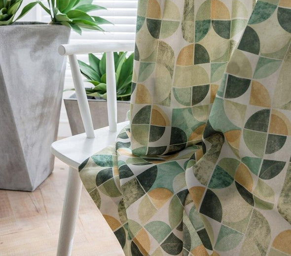 Jason Modern Abstract Print Semi-Blackout Curtain Set - Green - Curtains Online - Discover-curtains
