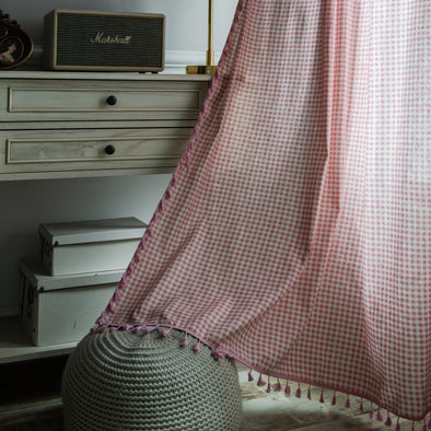Rémy Pink Plaid Linen Curtain - Curtains Online - Discover-curtains