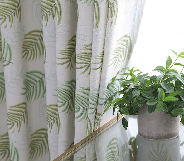 Jason Pastoral Style Maple Leaf Curtains Set - Green - Curtains Online - Discover-curtains