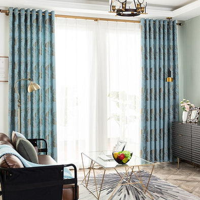 Astor Rideaux Blue Golden Leaf Blackout Curtain - Curtains Online - Discover-curtains