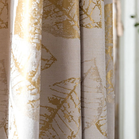 Astor Rideaux Golden Leaf Blackout Curtain Set. - Curtains Online - Discover-curtains