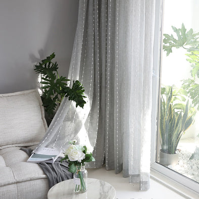 Adelaine Linen Sheer Curtain Vertical Stripes With Cotton Ball Design - Curtains Online - Discover-curtains