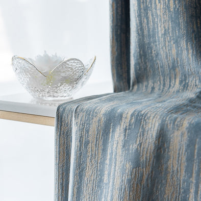 T.B. London Luxury Nordic Bronzing Embossed Texture Velvet Curtain Set - Blue - Curtains Online - Discover-curtains