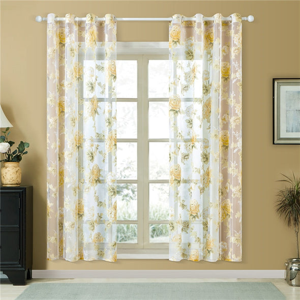Homespun Sheer Curtain Yellow Lyon - Curtains Online - Discover-curtains