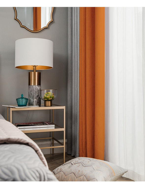 Brittany 2-Tone Blackout Curtains - OrangeGray - Curtains Online - Discover-curtains