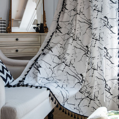 Rémy Marble Print Linen Curtains - Curtains Online - Discover-curtains