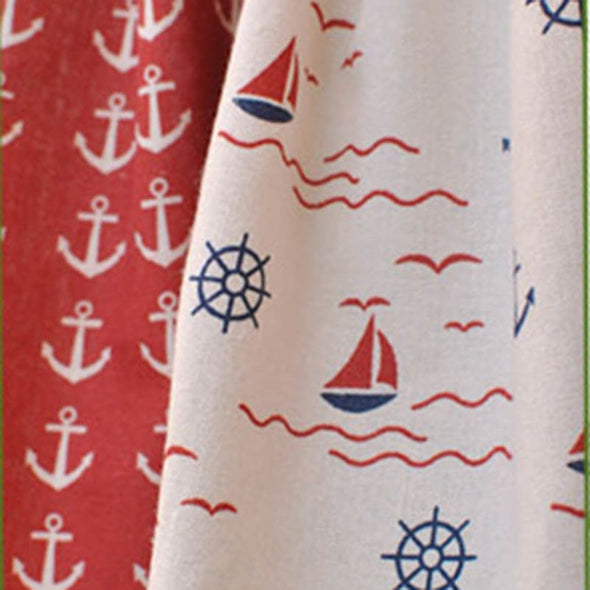 Astor Rideaux Blue/Red Splice Window Topper - Curtains Online - Discover-curtains