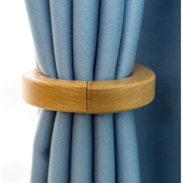 Curtain Magnetic Wood Round Ring Tieback - Curtains Online - Discover-curtains