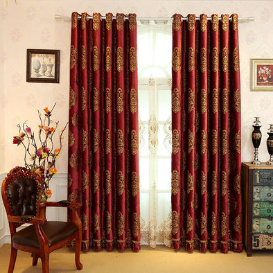 Mila Chenille Jacquard Blackout Curtains - Red - Curtains Online - Discover-curtains