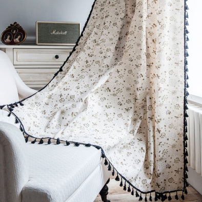 Rémy Spring Black Floral Print Linen Curtains - Curtains Online - Discover-curtains