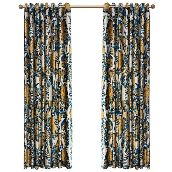 Mila Luxury Curtains Printed Velvet Fabric Thermal Insulated Blackout Curtains - Curtains Online - Discover-curtains