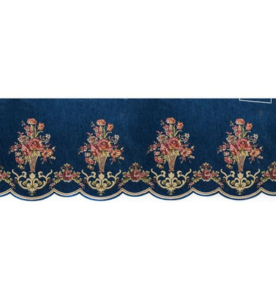 Mila European Chenille Jacquard Blackout Valance - Blue - Curtains Online - Discover-curtains