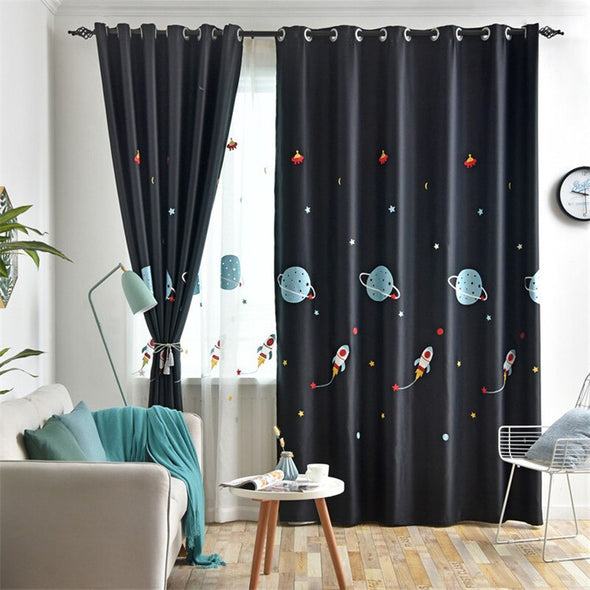 Rémy Cartoon Spaceship Blackout Curtains for Kids - Curtains Online - Discover-curtains