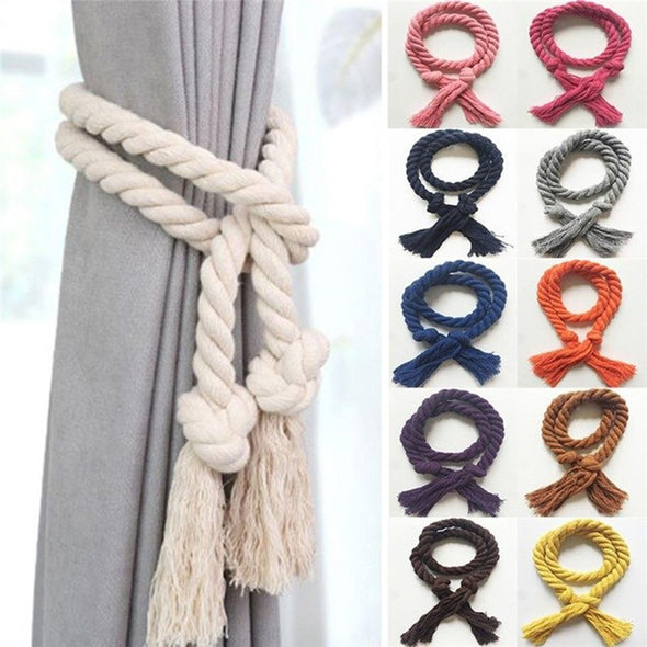 Pearl Simon Solid Rope Curtain Tieback Pair - Curtains Online - Discover-curtains