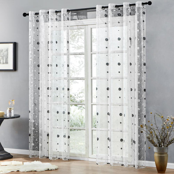 Homespun Bird Nest Sheer Curtains - White - Curtains Online - Discover-curtains