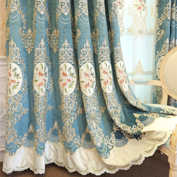 Rémy European Luxury Chenille Embroidered Curtain - Blue - Curtains Online - Discover-curtains