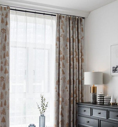 Jason Pine Tree Design Blackout Curtain - Curtains Online - Discover-curtains