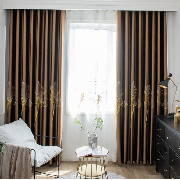 Adelaine Satin Embroidered Blackout Curtains - Brown - Curtains Online - Discover-curtains