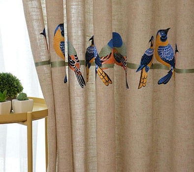 Astor Rideaux Embroidered Birds Curtains Set - Curtains Online - Discover-curtains