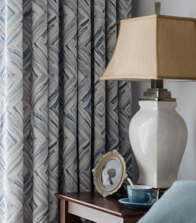 Jason Forest Diamond Blackout Curtain Set - Blue - Curtains Online - Discover-curtains