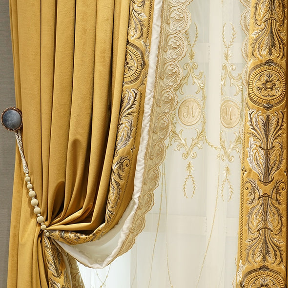 Mila Embroidered Border Velvet  Golden Chrome Curtain - Curtains Online - Discover-curtains