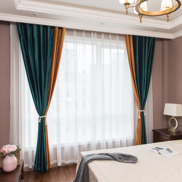Mila Luxury Dutch Velvet Spliced Curtains - Curtains Online - Discover-curtains