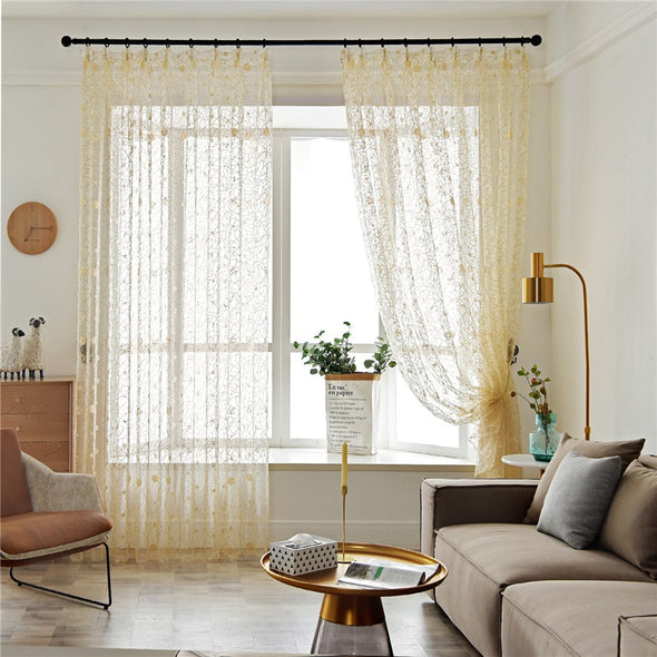 Homespun Bird Nest Sheer Curtains - Light Yellow - Curtains Online - Discover-curtains