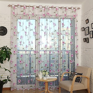 Homespun Sheer Floral Print Pattern - Purple - Curtains Online - Discover-curtains