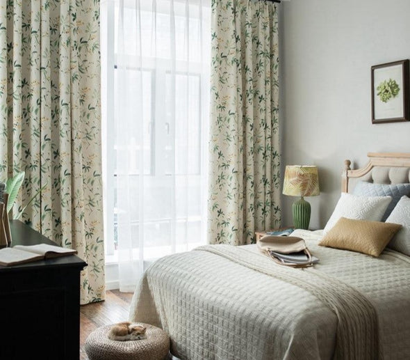 Astor Rideaux American Country Green Leaf Curtain - Curtains Online - Discover-curtains