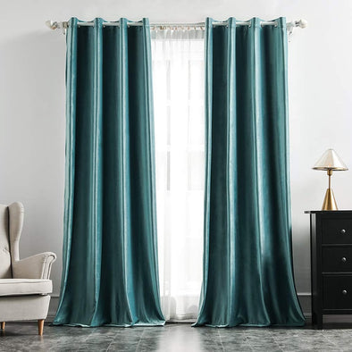 Brittany Velvet Blackout Curtains - Teal - Curtains Online - Discover-curtains