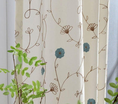 Jason Vine Embroidered Cotton Curtains