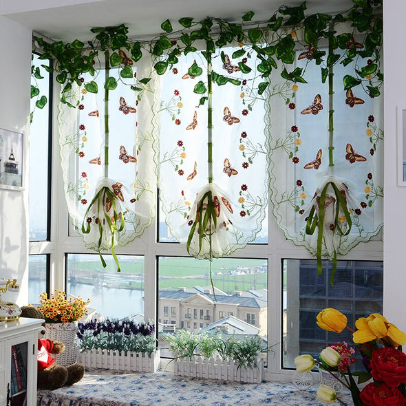Homespun Embroidered Roman Short Kitchen Curtain - Red Butterfly - Curtains Online - Discover-curtains
