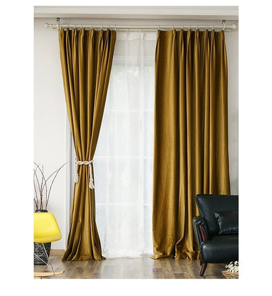 Brittany Luxury Velvet Plain Blackout Curtains - Ginger Gold - Curtains Online - Discover-curtains