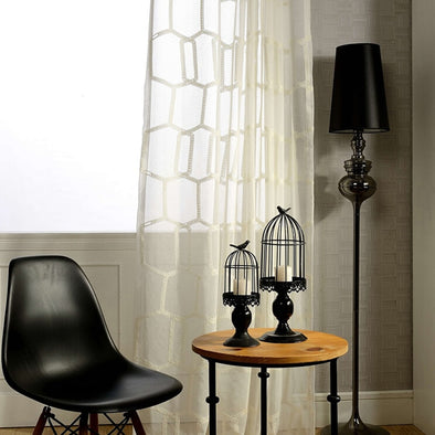 Brittany White Honeycomb Embroidery Sheer Curtain - Curtains Online - Discover-curtains