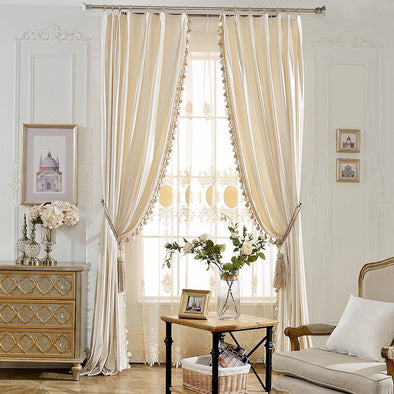 Rémy Luxury European Blackout Tassel Velvet Curtains - Pearl