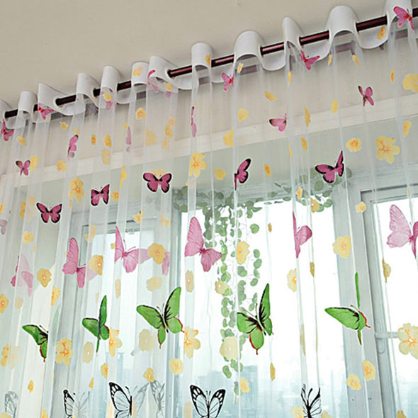 Homespun Sheer Curtain Brazilian Butterflies - White - Curtains Online - Discover-curtains
